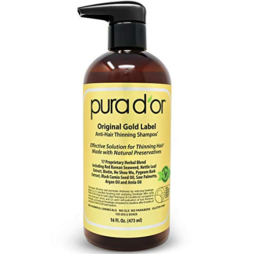 PURA D'OR Original Gold Label Anti-Thinning Shampoo Clinically Tested, Infused with Argan Oil, Biotin & Natural Ingredients, Sulfate Free, All Hair Types, Men and Women, 16 Fl Oz (Packaging may vary) (Oil For Hair Regrowth On Bald Head)