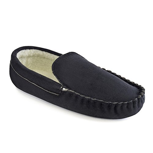 Socks Uwear SlumberzzZ Mens Fleece Lined Microsuede Moccasin Slippers Navy Blue oKvbe