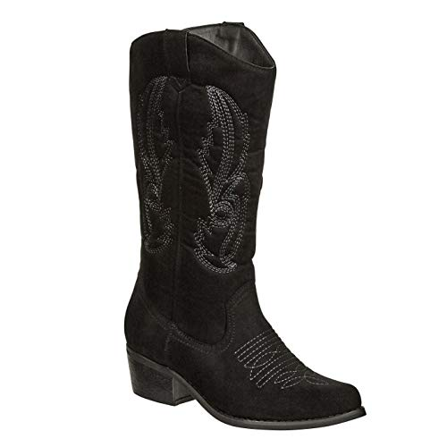 MVE Shoes Women's Modern Western Cowboy Distressed Boot with Pull-Up Tabs Black*c11