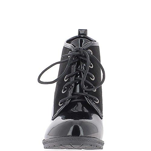 Bottines noires à talon épais de 9cm bi matière