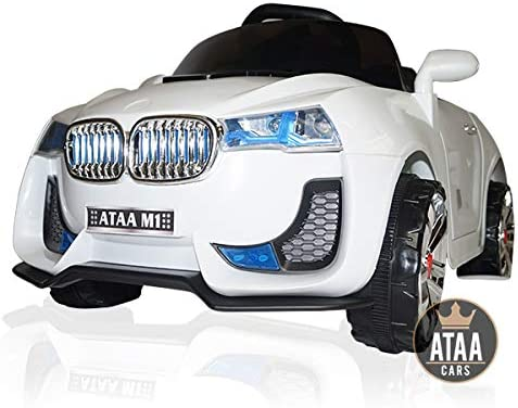 ATAA M1 Blanc-Voiture /électrique pour Enfants avec t/él/écommande pour Parents et Batterie 6v