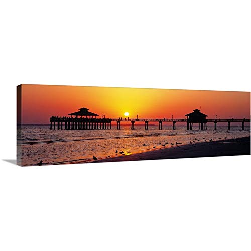 Solid-Faced Canvas Print Wall Art Print Entitled Sunset Fort Myers Beach FL 36