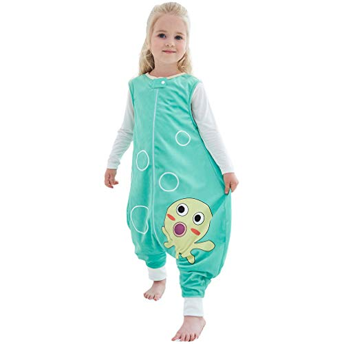 MICHLEY Baby Sleeping Bag Sack with Feet Spring Winter Swaddle Wearable Blanket Sleeveless Nightgowns for Infant Toddler, 1-3T, Green Octopus (Toddler Swaddle Blanket)