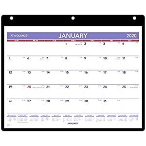 "AT-A-GLANCE 2020 Monthly Desk/Wall Calendar, 11"" x 8"", Small, 3 Hole Punched Vinyl Holder (SK800)"