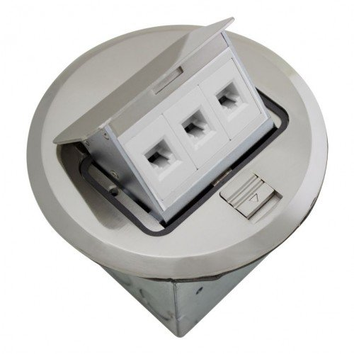 Orbit FLBPU-L-R-SS Electric Floor Box, Pop-Up Cover RJ45 Ports - 4'' Round - Stainless Steel by Orbit (Image #1)