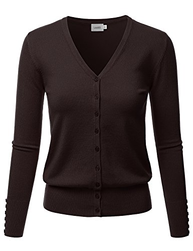LALABEE Women's V-Neck Long Sleeve Button Down Sweater Cardigan Soft Knit-Brown-M