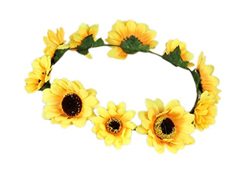Merroyal Sunflower Boho Hippie Festival Flower Crown Headband Handmade (Yellow)