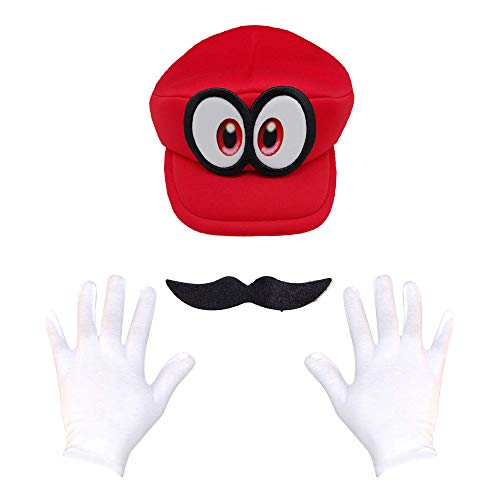 Super Maryo Brothers Cosplay Hats Wario Luigii Waluigi Caps for Adult Kids (One Size, Unique-Red-1)