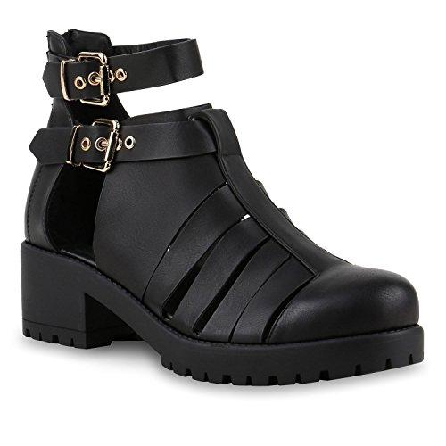 Damen Sandaletten Blumen Stiefeletten Cut-Outs Ankle Boots Leder-Optik  Plateauschuhe Blockabsatz Schnallen Profilsohle