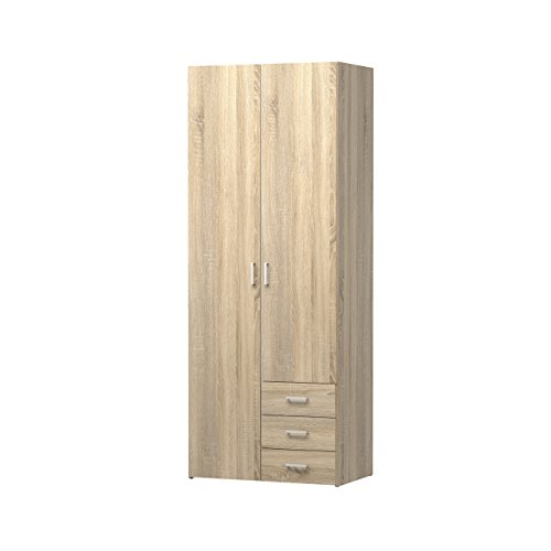 Tvilum 70425akak Space 3 Drawer & 2 Door Wardrobe, Oak Structure by Tvilum