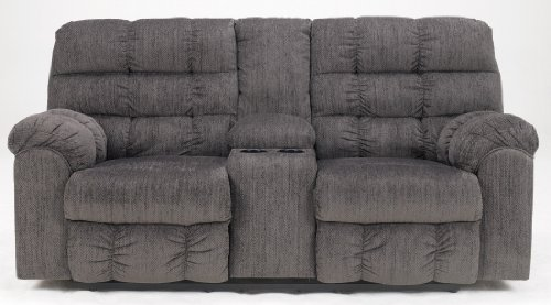 Ashley Furniture Signature Design - Acieona Recliner Loveseat with Console - Pull Tab Manual Reclining - Slate Gray (Country Console Corner Casual)