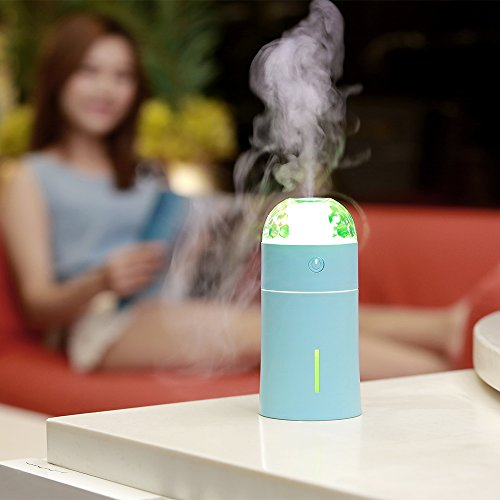 Cool Mist Humidifier and Night Lamp Projection 2 in 1, USB Mini Humidifiers with 175ml, Auto Shut-Off and No Noise, Idea for Desk, Single Rooms, Baby Rooms, Travel Room, Planes and Kids Rooms by MIYA LTD
