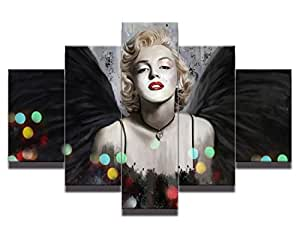"Modern Oil Painting on Canvas ""Dream Marilyn Monroe"" 5-Piece Enticing Famous People Framed Wall Art Ready to Hang for Living Room Artwork for Wall Decor Home Decoration Ready to Hang (50''Wx24''H)"