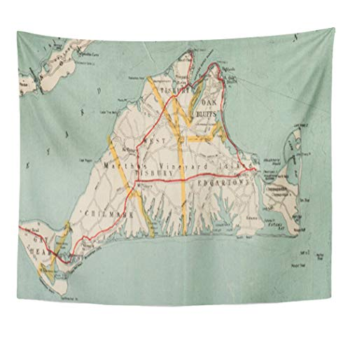Semtomn Tapestry Artwork Wall Hanging Massachusetts Vintage Map of Martha Vineyard Old Historical Antique 50x60 Inches Home Decor Tapestries Mattress Tablecloth Curtain Print]()