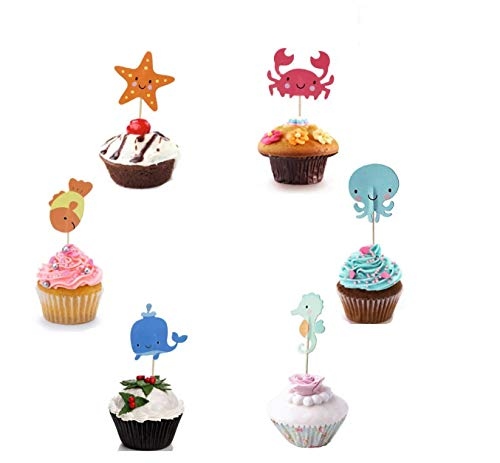 Antallcky 48pcs Ocean Sea Animal Cupcake Toppers Whale Octopus Crab Sea Horse Starfish Fish Cupcake Toppers- birthday or baby shower Food Picks Decor And Cupcake Party Pick