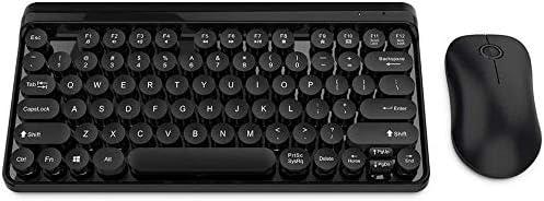 DEJA ワイヤレスマルチメディアキーボードとマウスセット、ハンギングボタンとキーボード、2.4 GHzのワイヤレステクノロジーマルチメディア防水キーボード (Color : Black)