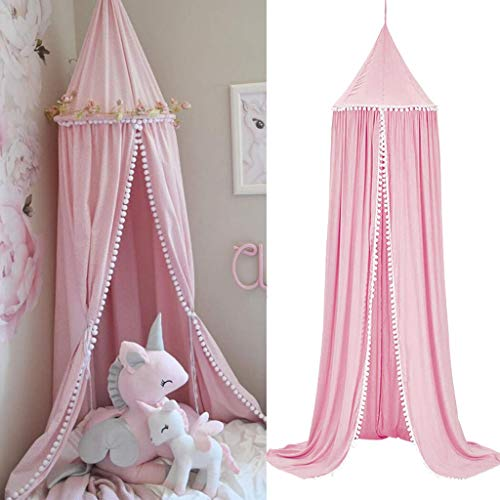 Bed Canopy for Girls Bed, Cotton Dome Mosquito Net for Baby, Kids Indoor Outdoor Playing Reading, Bedroom Decoration (Pink)