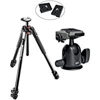 Manfrotto MT190XPRO3 3 Section Aluminum Tripod Kit w/ 496RC2 Compact Ball Head with Quick Release Plate with Two Replacement Quick Release Plates for the RC2 Rapid Connect Adapter