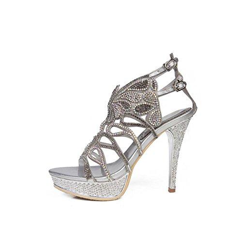 Femmes Chaussures Sandales d'été Strass Sexy Hauts Talons Dames Chaussures Dames à Talons Hauts Strass Ronde Tête Sandales (Color : 01, Taille : 36) 01