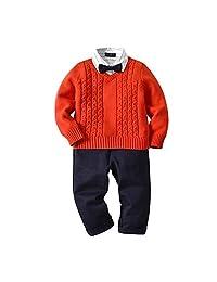 31c6f4247 Kindlov Conjunto de Chaqueta de niño cálido Conjunto de 3 Piezas de suéter  para bebés con
