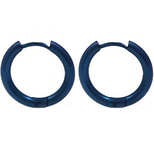 Pair of Blue IP Steel Hinge Hoop Earrings 10-20mm (12mm Diameter) Continous Hinges