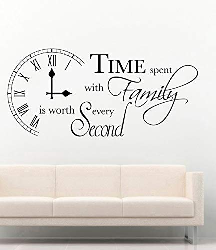 Wall Vinyl Decal Stickers - Time Spent with Family Inspirational - Quote Kitchen Dining Room - Home Vinyl Decor Sticker - Home Art Print TT10818