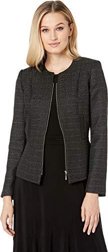 Tahari by ASL Women's Tweed Zip Jacket with Metallic Detail Black/Silver 6 ()