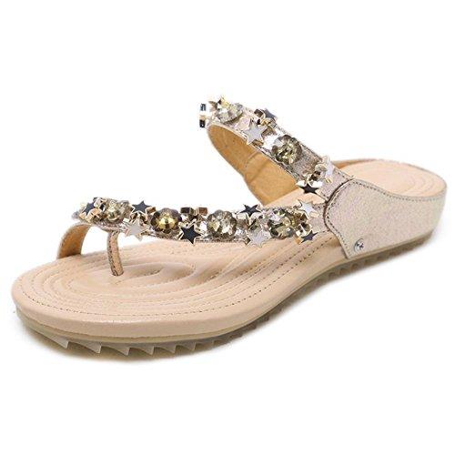 Glisse Taoffen Mode Féminine Sandales Pince Orteil Or 3