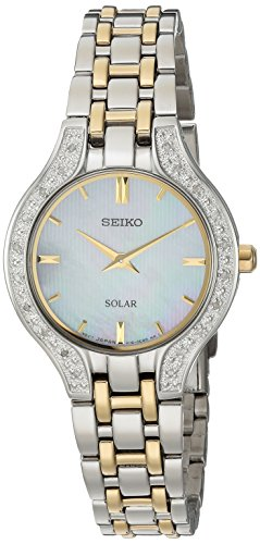 Seiko Women's Quartz Stainless Steel Casual Watch, Color:Two Tone (Model: SUP335) (Seiko Diamond Wrist Watch)