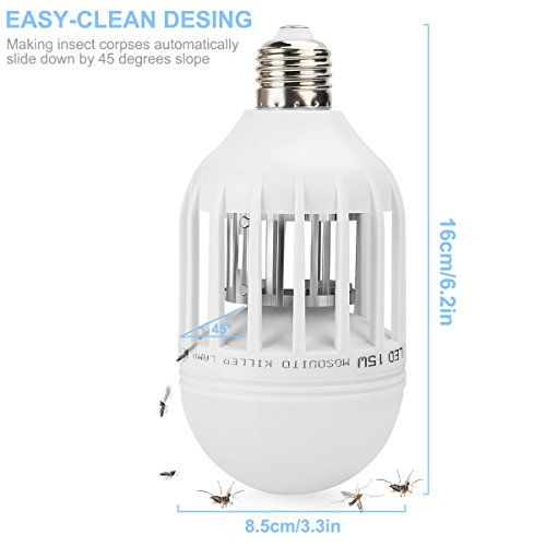 Bug Zapper Light Bulb 2 in 1 Pest Repellent, Mosquito Killer Lamp, Fly Killer, Electronic Insect Light Trap for Home Indoor Outdoor Porch Patio Garden White by Mothga (Image #2)