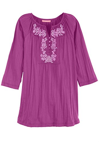 Women's Plus Size Pretty Crinkle Knit Tunic Top With Lavish Embroidery 3/4 Sleeves (Berry Pink,4X)