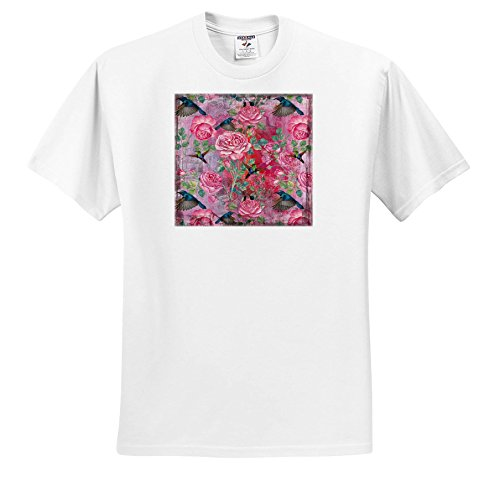 Uta Naumann Watercolor Illustration Flowers - Vintage Watercolor Roses With Hummingbirds In Mauve - T-Shirts - Youth T-Shirt Small(6-8) (Hummingbird Rose T-shirt)