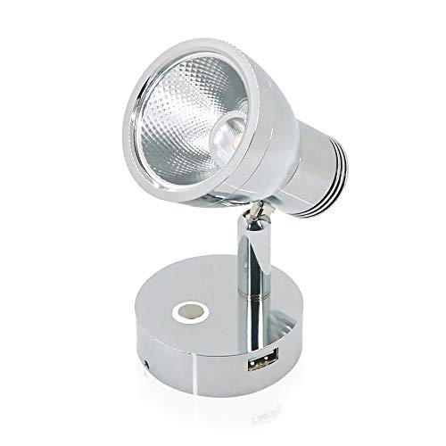 12V RV Dimming Reading Lights with USB Socket, Polishing Chrome Aluminum Shade & Base Body has Built-in Sensitive Stepless Touch Switch 3W Warm Lighting Interior Lamps, 10-30V for Vehicle, Caravan