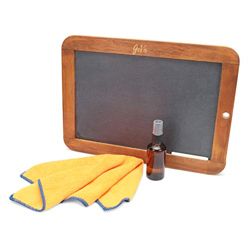 Rustic Wooden Framed Hanging Lap Chalk Board Set (10 by 14 inch) Double Sided Easy to Clean Slate Black Board Display Gift Set for Home Decor, Weddings, Restaurants,