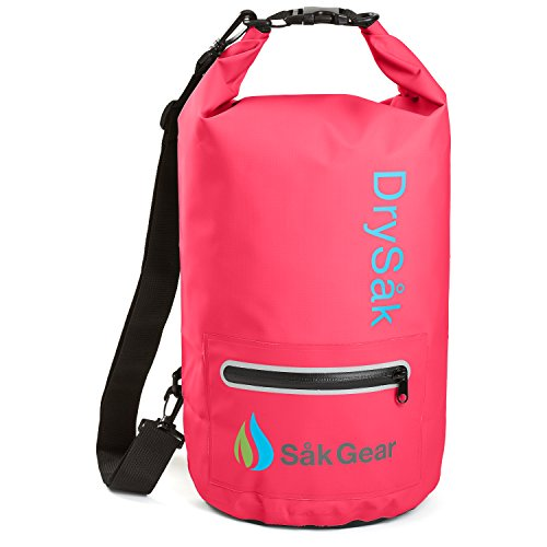 DrySak Premium Waterproof Dry Bag with Exterior Zip Pocket | Keeps Gear Safe & Dry During Watersports & Outdoor Activities | Rugged 500D PVC with Shoulder Strap & Reflective Trim | 20L Pink