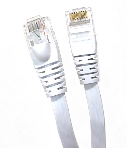 Micro Connectors, Inc. 7 feet FLAT Cat 6 Molded Snagless UTP RJ45 Networking Patch Cable - White (E08-007FL-W)