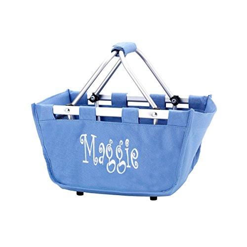 Monogrammed Blue Hydrangea Mini Market Totes Personalized