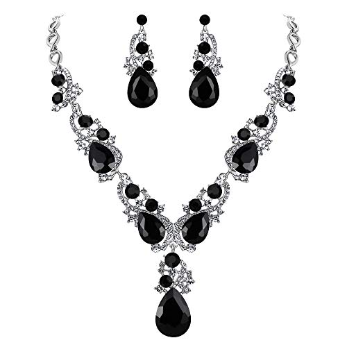 BriLove Women's Wedding Bridal Crystal Multi Teardrop Cluster Statement Necklace Dangle Earrings Set 1