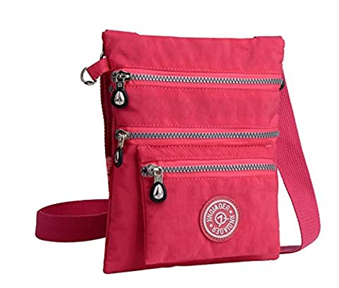 Govc Simple Lightweight Multi-pocket Waterproof Nylon Casual Shoulder Crossbody Bags Zipper Handbags - Pink Kids Bag