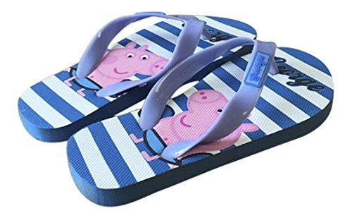 Peppa Pig Jungen Kinder George, Sommer Strand Zehentrenner Blau, Piraten & Streifen (11-11.5 UK, 29/30 EUR, Königsblau/Weiß Streifen)