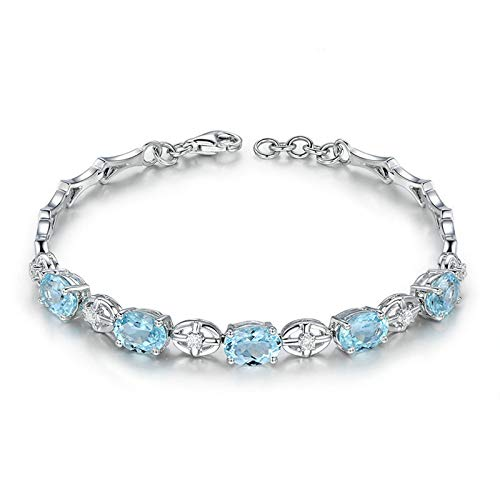 EoCot Custom Silver Plated Cross Bracelets for Women Oval Cut Blue Topaz Charm Bracelets