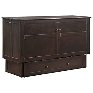 Night & Day Furniture MUR-CLV CH and MND-GMF-TRI-QEN Murphy Cabinet Bed with Mattress Queen Chocolate