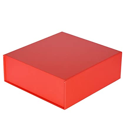 Easy Christmas Cherry Red Large Gift Box 10 X 10 X 3inches Set Of 3 Decorative Luxury Box Collapsible And Stackable With Attached Lid
