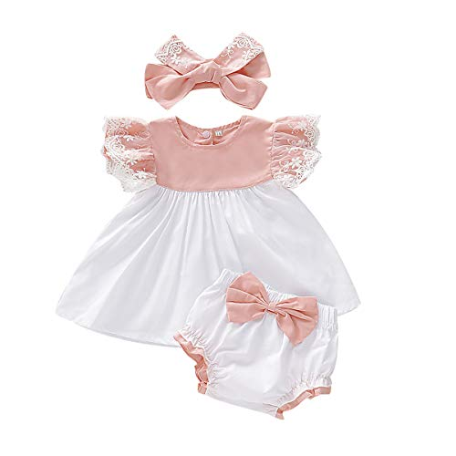 Toddler Kids Girls Summer Outfits 3pcs Baby Ruffled Floral Sleeveless Dresses Top, Bowknot Shorts Lace Headband Set Pink