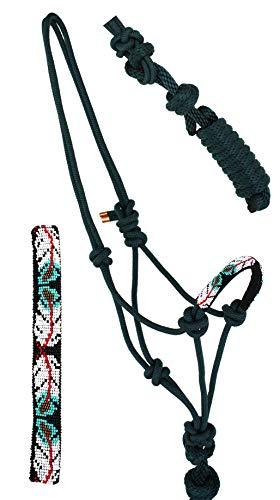 Nylon Horse Braided Beaded Noseband Rope Halter Lead Rope Tack Green 606RT29