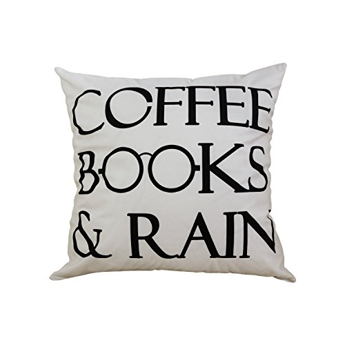 BLEUM CADE Coffee Books and Rain Motivational Inspirational Home Decorative Throw Pillow Case Cushion Cover 18