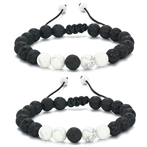 Mens Women 8mm Lava Stone Rock Bracelet Aromatherapy Anxiety Essential Oil Diffuser Yoga Bangle (2Pcs-White) E034Ax2