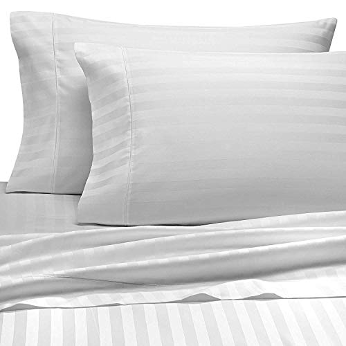 Amazing Bedding 400 Thread Count 100% Cotton 4 Piece Premium Sheet Set (1 Fitted Sheet, 1 Flat Sheet and 2 Pillowcases) Fit Up to 15-Inch-Deep Pocket (Queen, White Damask Stripe) (Sheet Set 400 Stripe Tc)