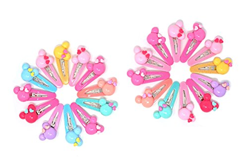 (XJZ 2.4 Inch Acrylic Colorful Flowers/Mickey/Cherry/Rabbit/Tie Metal Snap Hair Clips For Girls/Teen/Kids, 12 pairs/24 pcs)