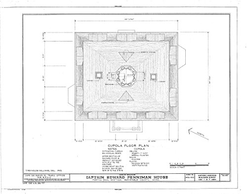 Historic Pictoric Structural Drawing 7. Cupola Floor Plan - Captain Edward Penniman House, Fort Hill Road, Eastham, Barnstable County, MA 55in x ()